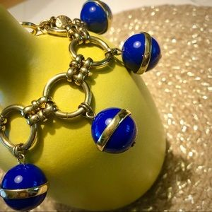 J. Crew Cobalt and Gold Bauble Bracelet